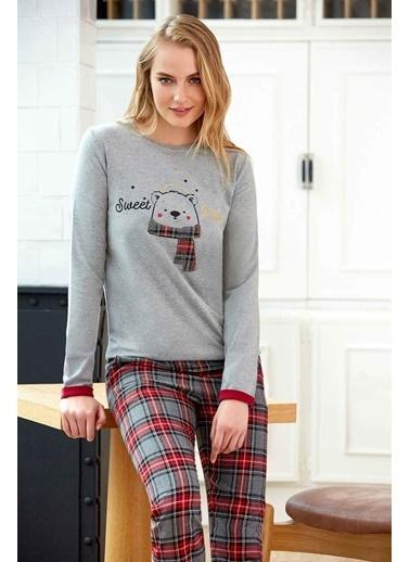 Pierre Cardin Pierre Cardin Kadın Pijama Takımı Koyu Gri Gri